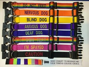 WARNING embroidered dog collar 3 sizes,9 colours, DEAF BLIND NERVOUS ANXIOUS etc