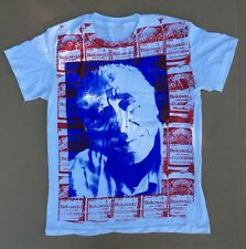 Vintage Charles Bukowski White USA Hanes Budweiser Beer All Over T-Shirt  LARGE