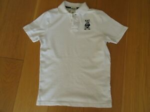 Boys abercrombie muscle white short sleeve polo shirt, size M