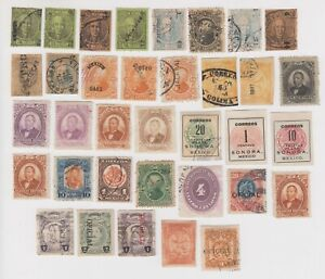 Mexico Group of 91 Classic Stamps in Two Scans--Many Could Be Better