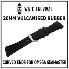 20MM VULCANISED SILICONE RUBBER STRAP DESIGNED FOR OMEGA SEAMASTER - UK SUPPLIER