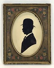 Antique Paper Cut Silhouette Portrait Gentleman Floral Hand Painted Frame