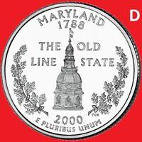 2000 D Maryland Quarter 50 State Statehood Denver ~ UNC 2nd