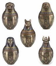 """New listing """"Gift Set Of 5"""" Egyptian Gods Bastet Horus Anubis Imsety Hapi Canopic Jars Urns"""