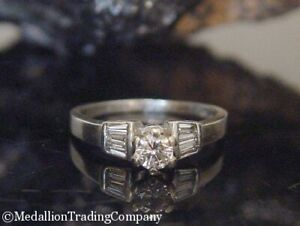 950 Platinum .61 Carat Round Solitaire Baguette Diamond Wedding Engagement Ring