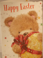 Happy Easter card 19.25cm x 13.5cm teddy with egg