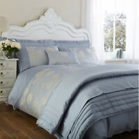 Antonia Duck Egg Blue Percale Bedding Set Duvet Cover Cushion Cover Bed Throw