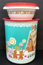 Tupperware Gingerbread Man Canister + Servalier Bowl Christmas Holiday Set New