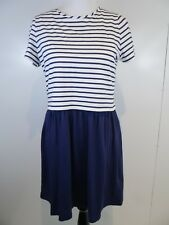 Johnnie B Boden  Dress Girls Sz 16Y+ Cotton Navy Blue White Striped Crop Modest