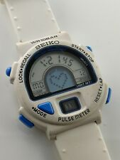 "Ultra rare SEIKO S240-400B ""The Doc"" Pulsemeter digital LCD watch Puls Uhr white"