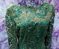 Vintage 60's Claire Dratch Gatsby Style Lace Mermaid Maxi Dress Gown S/M