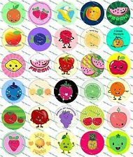"""30 Precut 1"""" Fruits Bottle cap Image Set 1"""