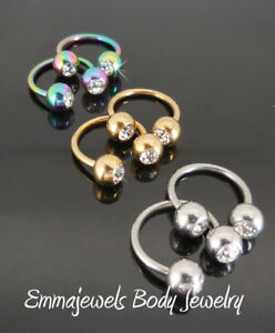 2-16G 14G Gold Tone Ring Rainbow CZ Horseshoe Nipple Rings Earring Cartilage NEW