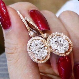 Gem Earrings 18k Gold Oval White Sapphire 925 Silver Pendant Jewelry Earring