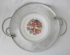 Wrought Farberware Aluminum Tray w/ Limoges Plate Center~~22K White Gold Edge