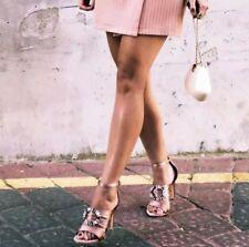 Zara tacones altos sandalias de satén Rosa Con Adorno De 5