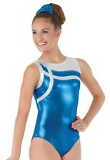 Aurora Borealis Blue Silver Leotard W Rhinestones Adult M Dance Acro Gymnastics