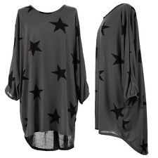 Women Star Print Batwing Lagenlook Tunic Dress Top Casual Baggy Blouse Plus Size