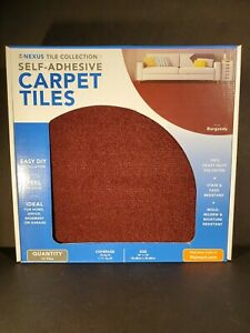 Carpet Tiles Peel And Stick Self Adhesive Squares Basement Flooring - Burgundy-