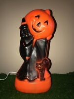 "Vintage 13"" Halloween Witch with Black Cat Holding a Pumpkin Lighted Blow Mold"