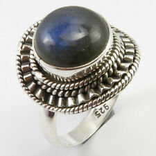 Solid Sterling Silver Blue Round LABRADORITE Ring Sz 7.75 Fashion Wholesale