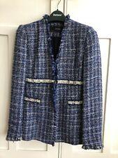 Zara Blue Check Blazer With Pearl Trim Size S/Xs