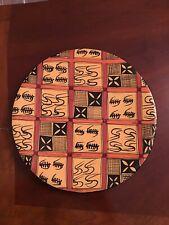 Stone Art Plate  Folk Art Gold Orange and Black