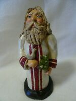 "7 1/2"" Resin Folk Art Santa-Dove-Mistletoe-Carved"