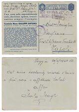 Cartolina Postale Forze Armate Camicia Nera Galuppi Arturo viaggiata 1943 FG NA