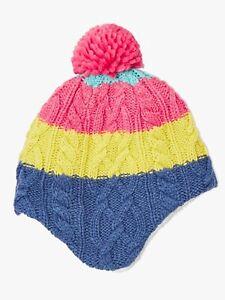 John Lewis & Partners Children's Colour Block Cable Knit Trapper Hat 3-5 Years