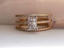 1/2ct Diamond Cluster Multi Row Orbit Ring Band 14K Gold- IGI Certified- Size 6