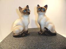 Vintage Pair Siamese Cat Figurines Enesco