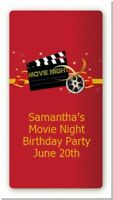Movie Night Custom Birthday Party Rectangle Stickers -2oz Sanitizer