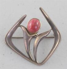 Modern Sterling Silver David Anderson Floral Modernist Pink Cabochon Pin Brooch