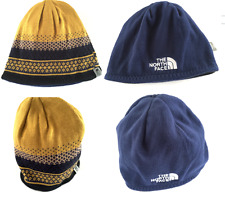 The North Face Reversible Beanie Hat Yellow Navy Blue Warm One Size Pattern Sale