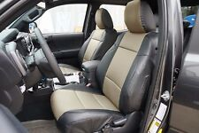 TOYOTA TACOMA 2016- BLACK/BEIGE LEATHER-LIKE CUSTOM MADE FIT FRONT SEAT COVER