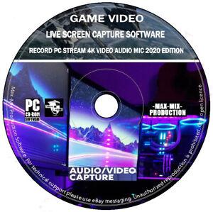 Live Screen Capture Recorder Record PC Stream Mic Audio + Video Audio Editor CD