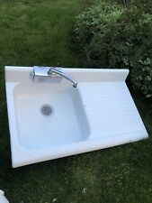 "Vintage Steel Farm Sink Porcelain with faucet 42"" x 25"" drainboard"
