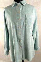 LL Bean Comfort Wide Whale Women 2X Size Blue Corduroy Shirt Top Blue a2
