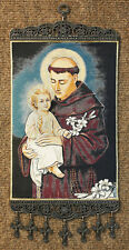 ST. ANTHONY of PADUA - TEXTILE TAPESTRY - WALL HANGING  with  CRUCIFIXES