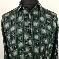 Carrera Mens Vintage Shirt MEDIUM Long Sleeve Green Regular Crazy Print Viscose