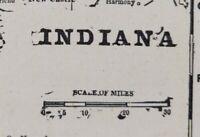 "Vintage 1900 INDIANA Map 11""x14"" ~ Old Antique Original INDIANAPOLIS VINCENNES"