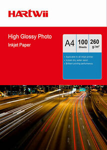 100Sheets A4 260 Gsm High Glossy Photo Paper Thick Inkjet Paper Printing 210x297