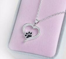 Dog Cat Paw Print pendant Necklace Sentimental Gift Personalised Box Jewellery 9
