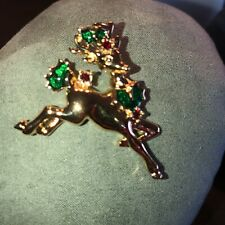 Avon Reindeer Running Gold Tone Red Stones Green Holly