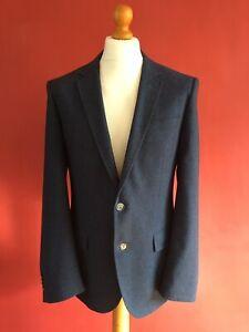 BOSS Super 100 Virgin Wool Blue Jacket Size 50 EU / 40R US