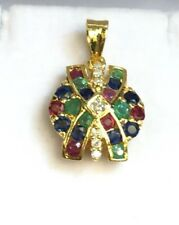 14k Solid Yellow Gold Cluster Diamond 0.13CT Charm/ Pendant & Natural Mix Stones