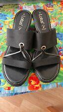 Ladies Black Faux Leather Slip On Mule Wedge Pre Owned UK 8 Wide Fit By LOTUS