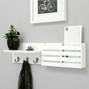 "24""X6"" Wall Shelf and Mail Holder Coat Key Rack Home Wall Mount w/3 Hooks White"