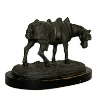 19th Century Antique Horse Statue on Wooden Base